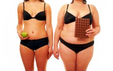 tučná žena s čokoládou verzus chudá žena s jablkom